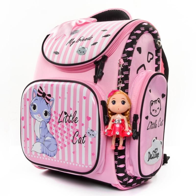 Delune Waterproof Children Backpack Girls Lovely Pink Cat Pattern Orthopedic School Bag EVA Satchel Mochila Infantil Grade 1 3-in School Bags from Luggage & Bags    2