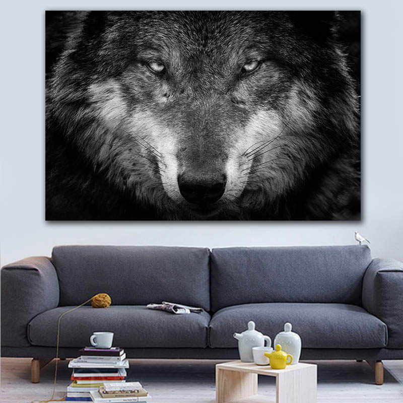 Wild Animal Wall Art Wolf Picture Canvas Painting Black and White Wolf Photo Canvas Print and Poster Home Room Art Wall Decor