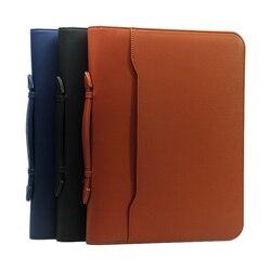 Многофункциональная А4 Сумка для документов на молнии pu кожаная сумка менеджера с портфель с ручками Мужская папка на молнии калькулятор па...