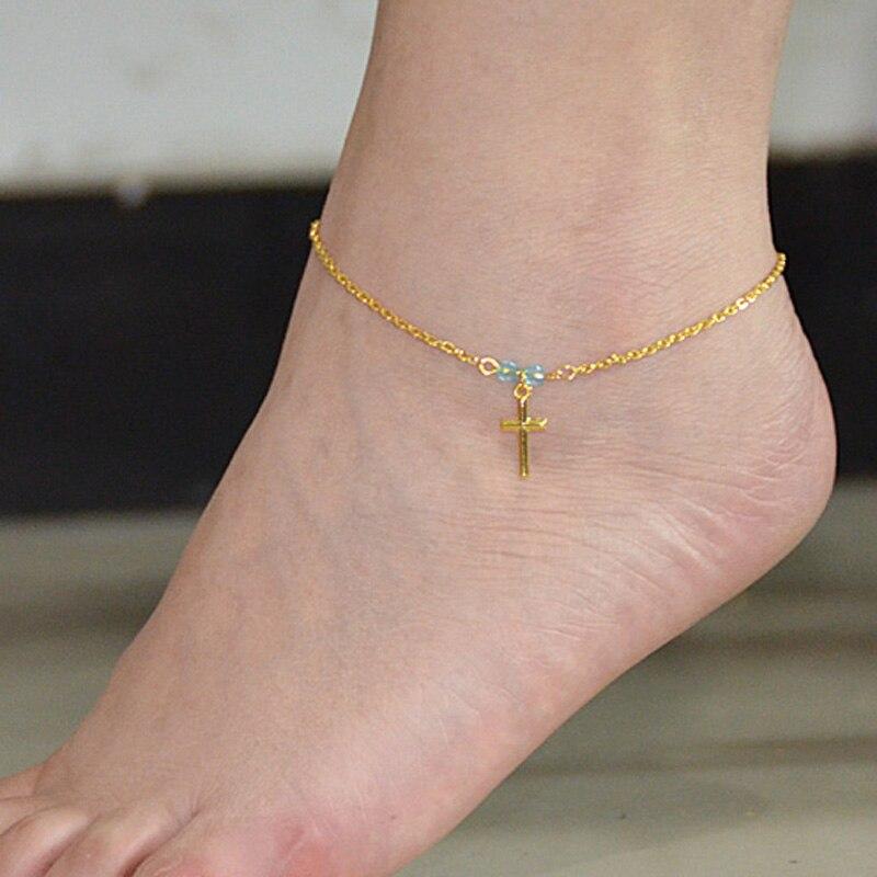 Chic Women's fine feet cross Beads barefoot Sandal Beach ...