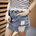 New Fashion 2016  Summer  Plus Size Old Frayed Unedged High Waist Hole Jean Skirts Denim Skirt Women Mini Skirt Mini Gonna Jeans