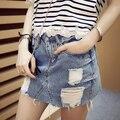 Nueva Moda 2016 Del Verano Más Tamaño Antiguo Deshilachados Troncos de Cintura Alta agujero Jean Faldas de Mezclilla Falda de Las Mujeres Mini Falda Mini Gonna Vaqueros