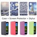 """Impresión de lujo estilo PU cuero coloca la cubierta Case para Huawei Honor T1-701U T1-701 7 """" Tablet + Screen Protector + Stylus pen regalo"""
