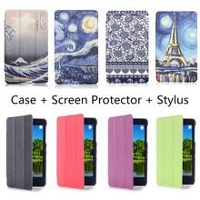 """De lujo de Estilo de Impresión de LA PU Del Soporte Del Cuero Funda para Huawei Honor T1-701U T1-701 7 """"Tablet + Protector de Pantalla + Stylus Regalo"""