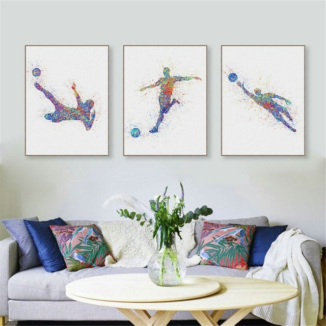 Framed Canvas Printed Art Print Watercolor Feather Home Decor Watercolor Painting Feather Wall Art