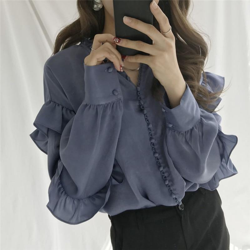 Vintage 2019 Chic Camisas Mujeres De 68356 Dulce Manga Las Y Otoño Moda Blusa Neploe Nueva Blouse Blouse Femenina Tops pink Botón Grey Blue Larga 65nqdT6