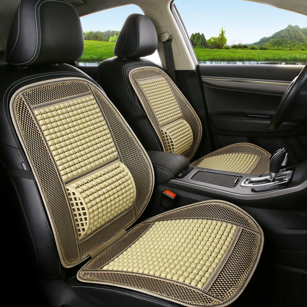 Cooling Wood Bead Front Car Seat Cushion With Waist Support Pad Anti Slip Seat Cover Protector Auto Interior Accessories(China)