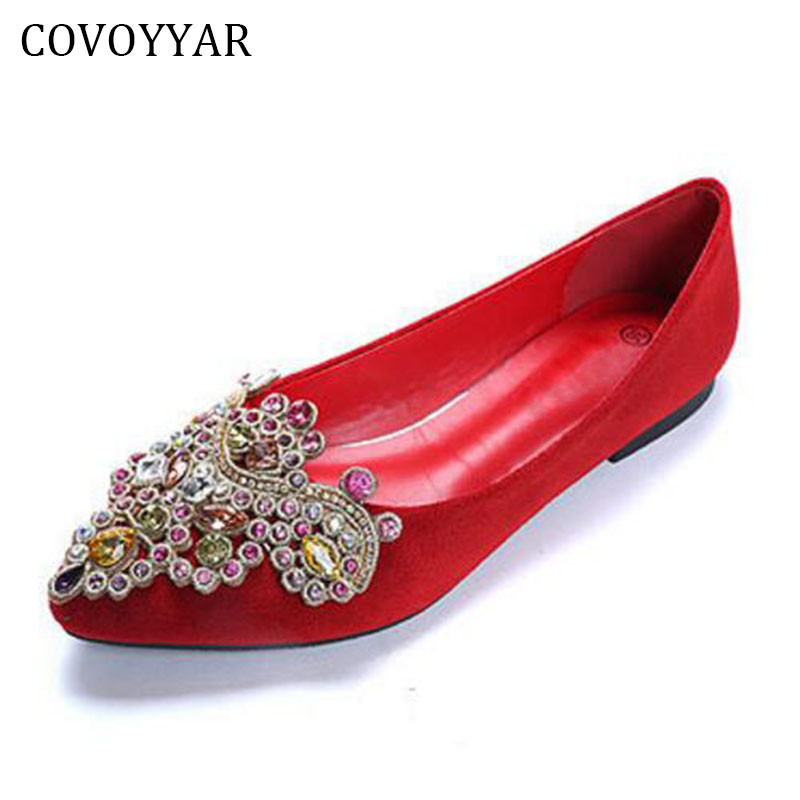 Fashion Rhinestone Women Shoes 2018 Spring Fall Women's Ballet Flats Comfort Pointed Toe Women Slip On Sizes 34-41 WFS204 new 2017 spring summer women shoes pointed toe high quality brand fashion womens flats ladies plus size 41 sweet flock t179