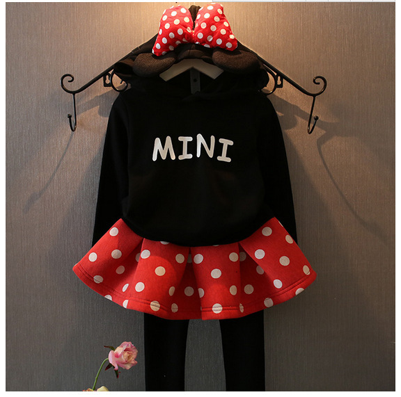 nova 2015 autumn winter big bow mini hooded+polka dot skirts pant 2pcs cartoon mouse style girl clothing set for 2~7 age kids
