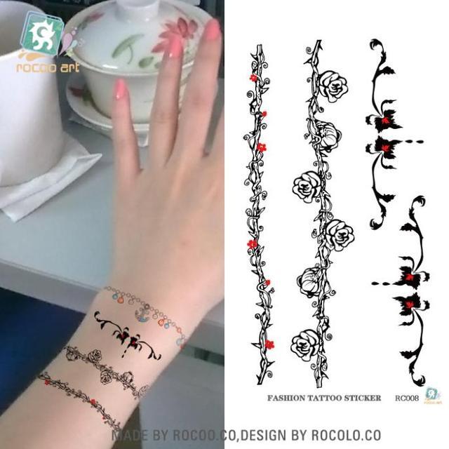 Women Tattoo Hand Wrist Arm Leg Rose Flower Bracelet Waterproof