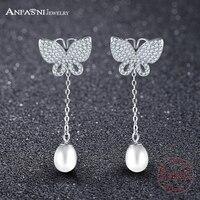 ANFASNI 100% 925 Sterling Zilveren Vlinder Lange Oorbellen Met Clear CZ en Pearl Vrouwen Wedding Luxe Sieraden SER0132-B