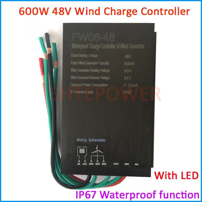 Vente chaude 600 w 48 v contrôleur, AC Moulin À Vent puissance turbines étanche IP67, contrôleur avec LED/no LED choix