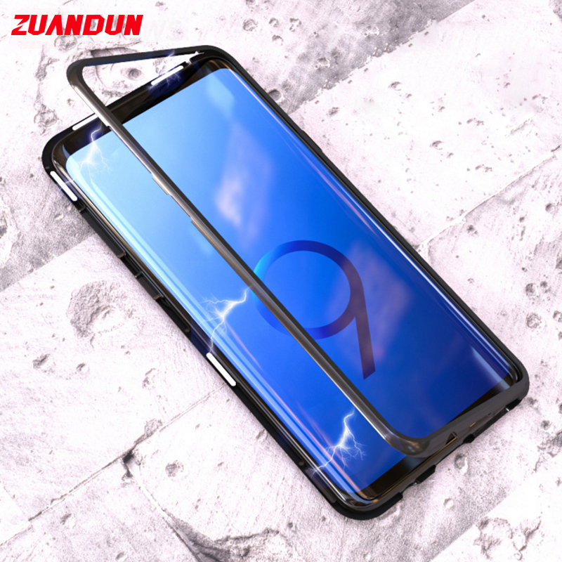 Magnetic Adsorption Flip Case for iPhone X 8 7 6 Plus 6S Metal Frame Tempered Glass Full Cover Case For Samsung S8 S9 Plus Cases