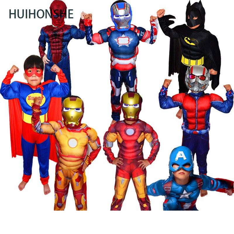 Children's Day Boys Muscle Super Hero Captain America Costume SpiderMan Batman Hulk Avengers Cosplay for Kids Children