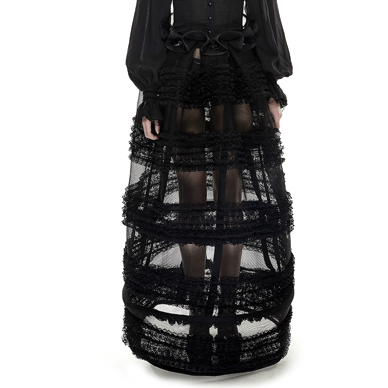 Noir Perspective Jupes Casual Pour Lolita Personnalité Femmes Gothique Jupe Punk Longues niveau Dentelle Multi ZExqw0w6S