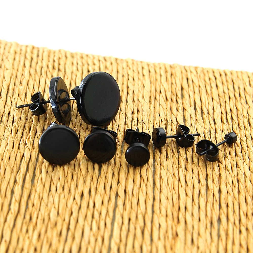 1 زوج الفولاذ المقاوم للصدأ الأذن ترصيع الأقراط أسود مطلي جولة على شكل مع فراشة المشبك ابعاد الأقراط النساء الرجال أقراط