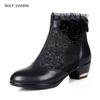 2018 New Women's Shoes fashion Flower Ankle Boots Sexy Lace Cuff Thick Heel Women Boots Spring/Autumn Fashion black Women Shoes