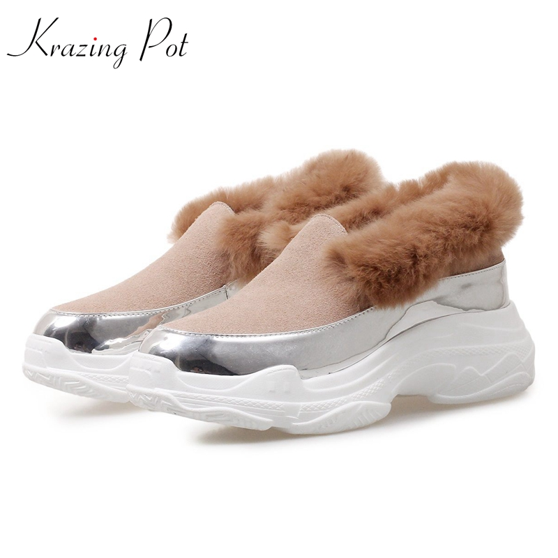 Krazing Pot cow suede brand shoes slip on rabbit fur keep warm round toe sneaker wedges fairy girl platform vulcanized shoes L02 цена 2017