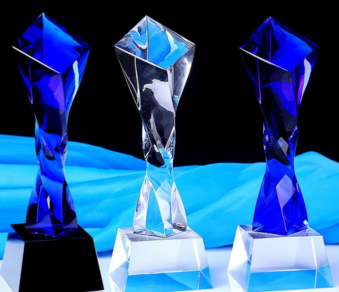 24CM Twist Crystal Trophy Cup Creative Customize Prize Cup Promotion Encourage Souvenir new style blue ribbon 45 cm english premiership trophy cup barcley premiership cup cup soccer football replica trophy cup