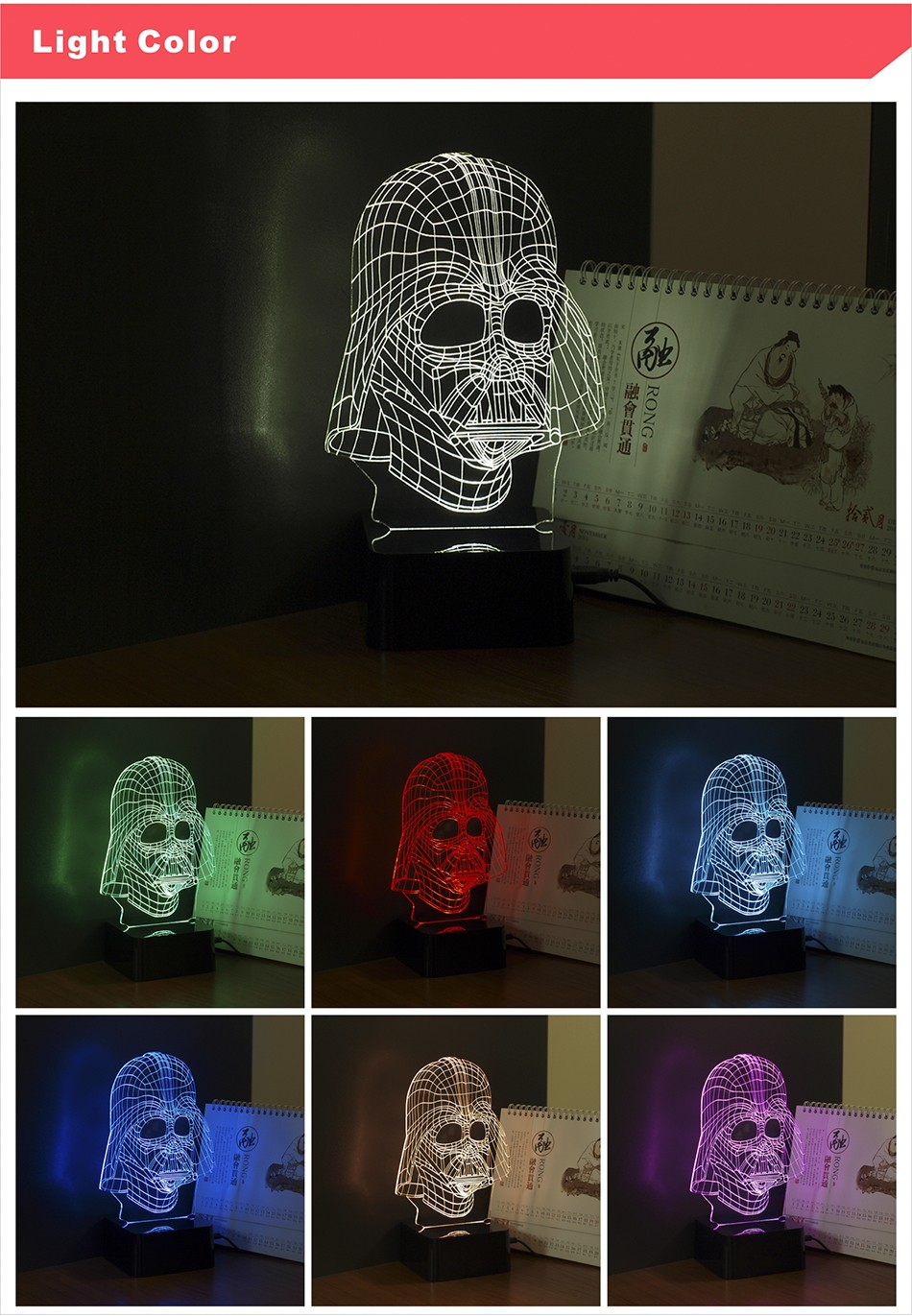 3D Visiual Darth Vader USB Led Night Light Star War Figure Touch Desk Table Lampara as Home Decor Lampe (3)