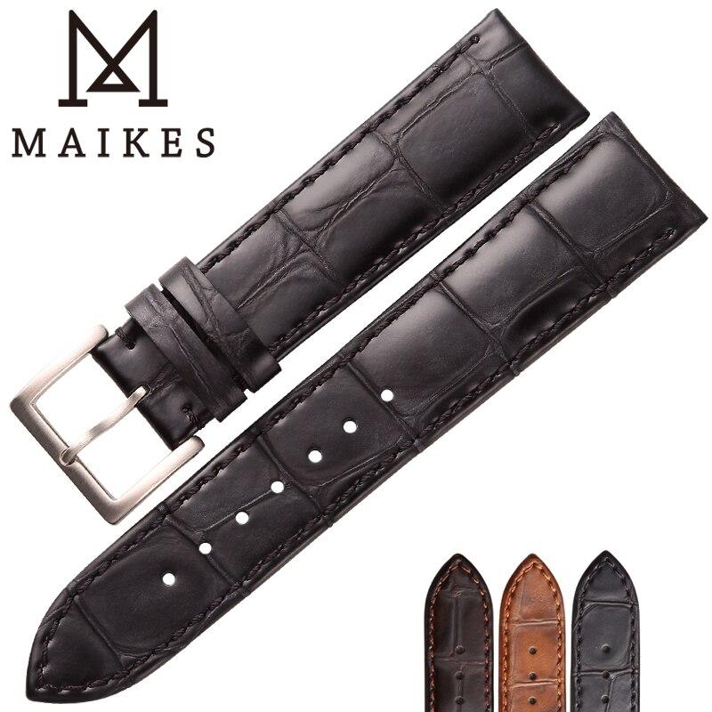 MAIKES Haute Qualité Crocodile Motif Montre Bandes Vache Véritable En Cuir Souple Femmes Mince de bracelet De Montre 18mm 19mm 20mm 22mm Bracelet