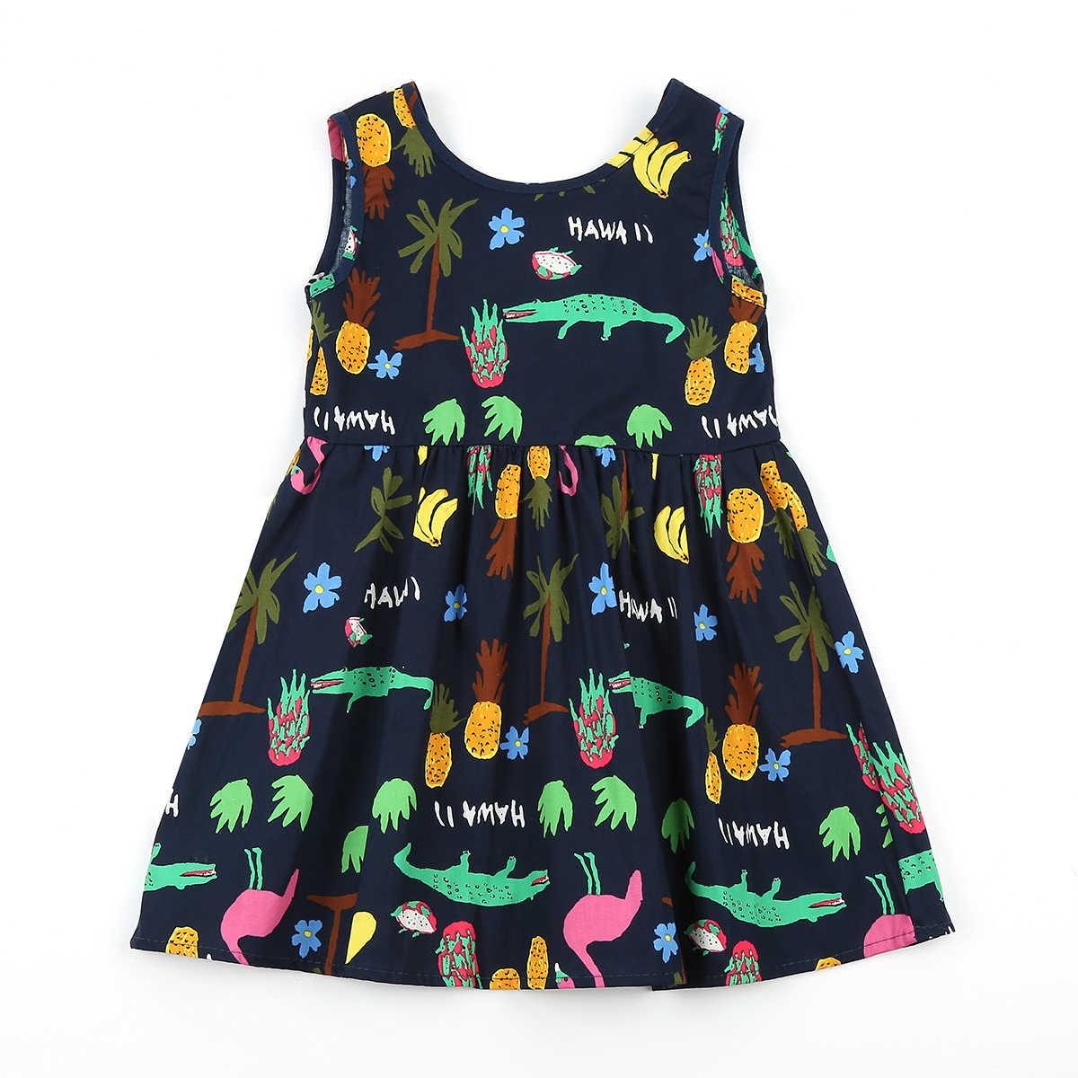 Bebek Kız Giysileri Backless Elbise Yaz Çocuk Giysileri Toddler Kız Elbise Bebek Pamuk Kolsuz Baskı Çiçek Prenses Elbise