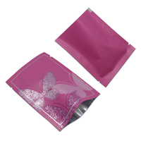 2 Sizes Open Top Butterfly Printed Heat Seal Vacuum Package Pouches Coffee Tea Storage Mylar Purple Bags Aluminum Foil Pack Bag