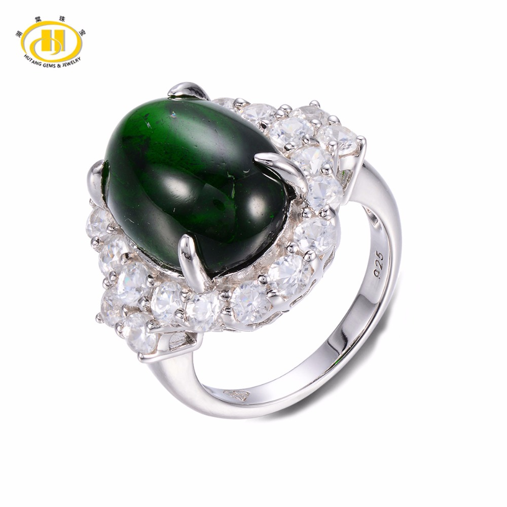 Hutang Solid 925 Sterling Silver 11.12ct Natural Gemstone Chrome Diopside Wedding Ring Fine Jewelry For Women's Gift цена и фото