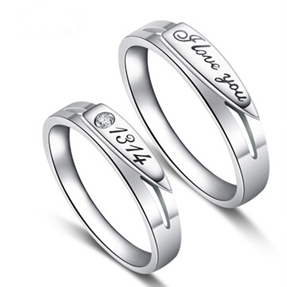 Fashion Women Men Jewelry Silver Plated Rings Letters and Numbers Stamp I love you 1314 Couple Ring Wedding Engagement Rings