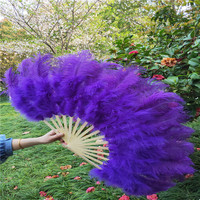 YY tesco 15 bone Purple High Quality Ostrich Feather Fan Dance Stage Show Props Wedding Party Fluffy Feather Hand Fan Decoration