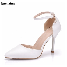 купить 2018 Women Sandals Soft Leather Pointed Toe Ankle-strap White Color Thin Heel High Heels Pumps Women Shoes Size 34-41 XY-A0091 по цене 1974.6 рублей