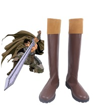 Breserk Guts Cosplay Boots Brown Shoes Custom Made Any Size