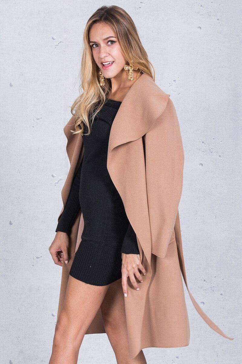 Simplee Black ruffle warm winter coat Women turndown long coat collar overcoat female Casual autumn 16 pink outerwear 6