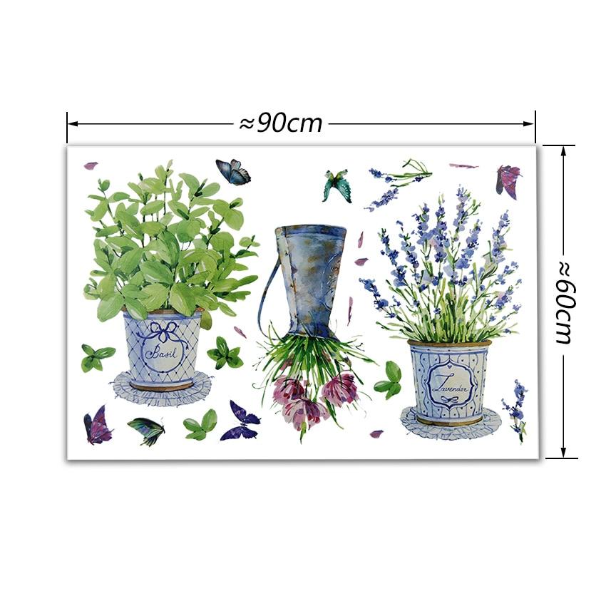 TIE LER DIY Wall Stickers Home Decor Potted Flower Pot Butterfly Kitchen Window Glass Bathroom Decals Waterproof