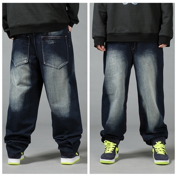 New Large size Hip Hop Men's pants Loose Skateboard pants Thick legs male youth Loose Dark Blue jeans Size 30-38 40 42 44 46