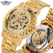 купить Men's Luxury Automatic Mechanical Watches Stainless Steel Gold Band Mechanical Watch for Teenagers Skeleton Watch Gift for Men по цене 1372.76 рублей