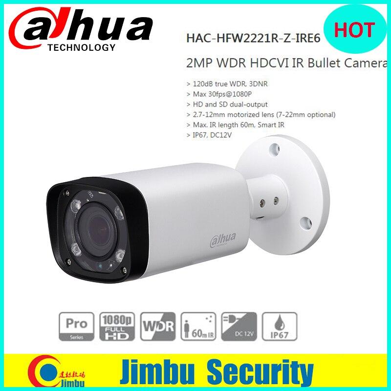 DAHUA HDCVI Bullet Camera 2MP 1080P CMOS IR 60M IP67 2.7~12mm varifocal motorizlens HAC-HFW2221R-Z-IRE6 security CCTV camera цена