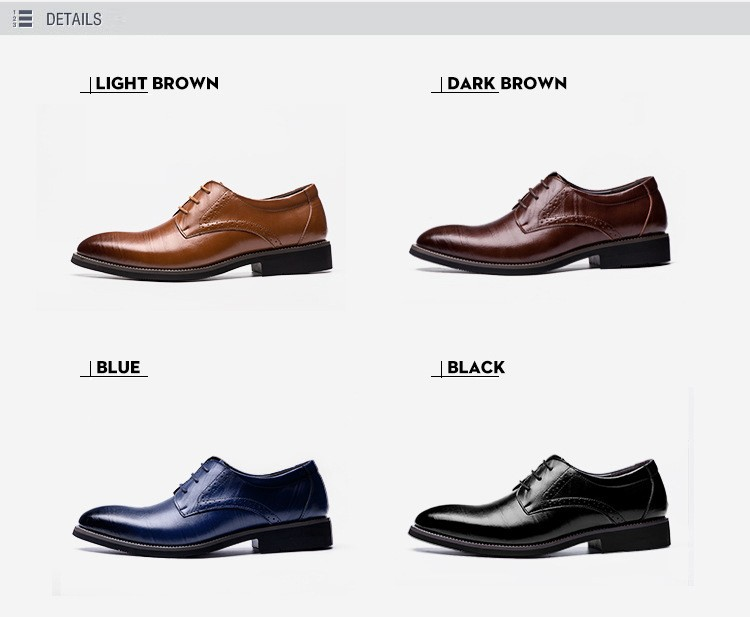 Merkmak Big Size 37-48 Oxfords Leather Men Shoes Fashion Casual Pointed Top Formal Business Male Wedding Dress Flats Wholesales 15