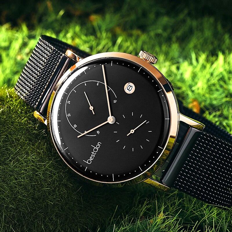 Bestdon Bauhaus Design นาฬิกาแบรนด์หรูสแตนเลสขนาดใหญ่นาฬิกาข้อมือควอตซ์แฟชั่นนาฬิกาบางพิเศษ-ใน นาฬิกาควอตซ์ จาก นาฬิกาข้อมือ บน   3