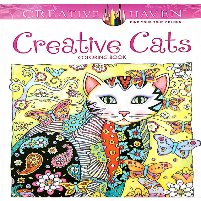 24p 185x21cm Colouring Book Creative Haven Cats Coloring Books For Adults Stress Relieving Antistress