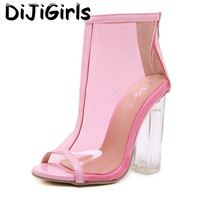 New Summer Sandals Pink PVC Transparent Gladiator Sandals Fashion Simple Peep Toe Shoes Clear Chunky Heels