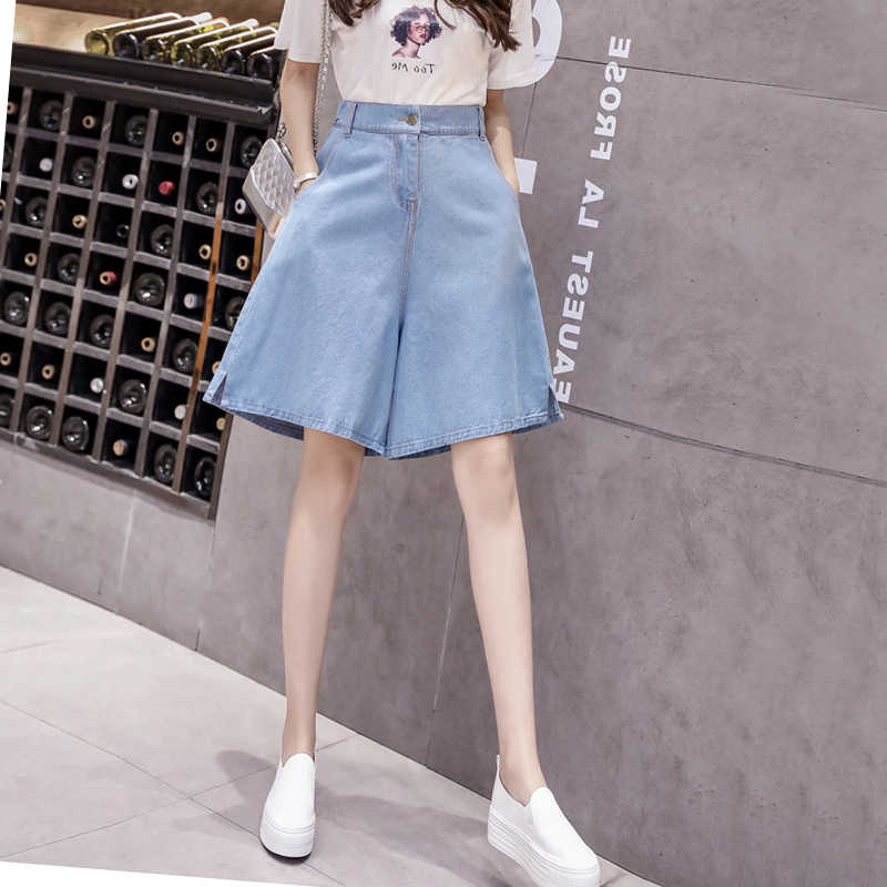 Knee Length Women Clothing Denim Wide Leg Shorts Pockets New Harajuku Summer Ropa Mujer Loose Short Pants Feminino Casual Jeans
