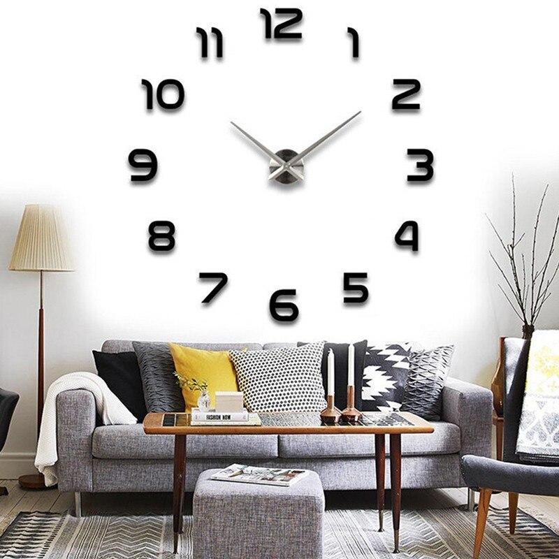 Pointer Clock Quartz Clocks Fashion Watches 3d Real Wall Clock Rushed Mirror Sticker Diy Living Room Decor Digital Wall Clock