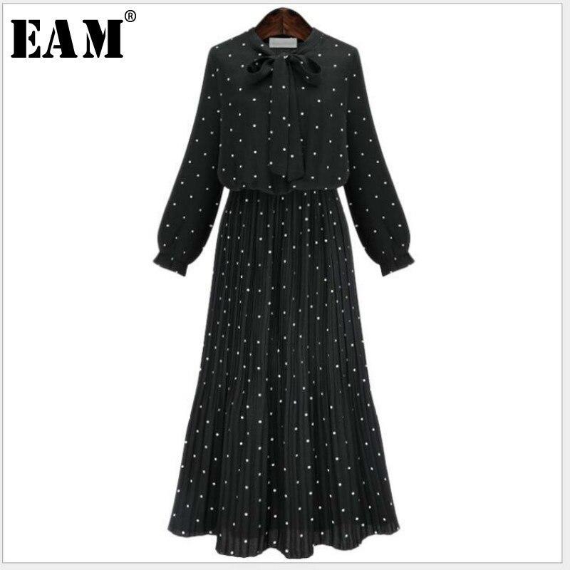 [EAM] 2018 nuevo otoño cuello redondo manga larga negro sólido gasa punto flojo tamaño grande vestido de las mujeres de moda marea JA23601M