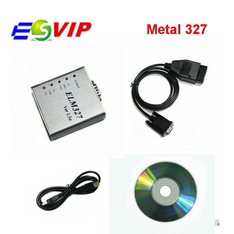 Prix pour Livraison gratuite Métal ELM327 Ver 1.5a Logiciel OBD2 code reader USB CAN-BUS Scanner ELM 327 Métal Cas