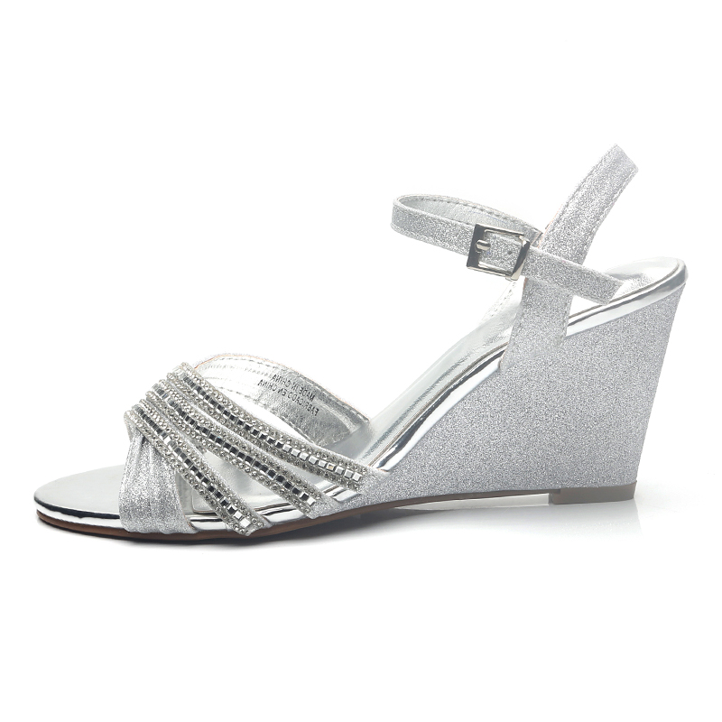 women sandals New style sandals women 39 s fashion sloping heels diamonds large size shoes buckle fashion women 39 s shoes in High Heels from Shoes