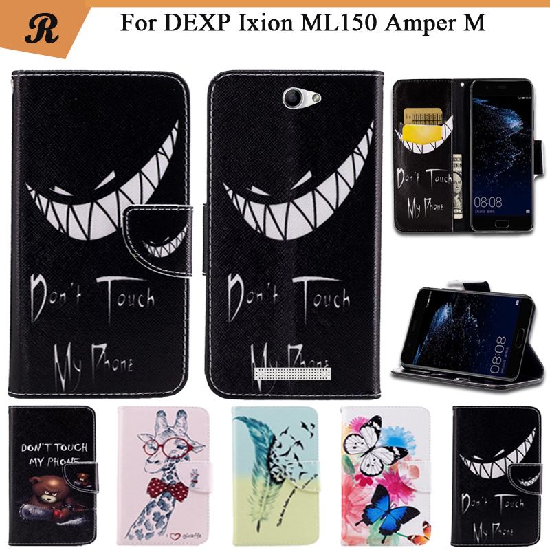 Painted Wallet Flip <font><b>Case</b></font> <font><b>For</b></font> <font><b>DEXP</b></font> <font><b>Ixion</b></font> <font><b>ML150</b></font> Amper M PU leather Card Slot Stand bag High Quality Cover fundas with Strap image