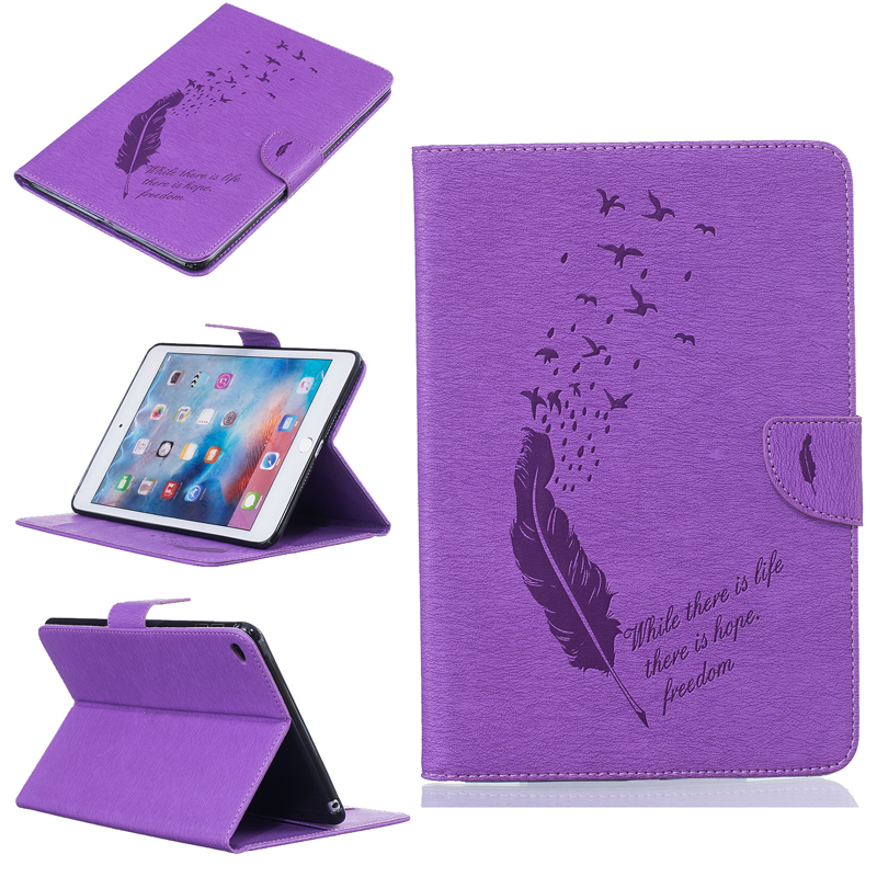 Embossing Bird Feather PU Leather Tablet PC Cases For Apple iPad mini 4 7.9 Flip Tablet Case with Wallet Card Holders&Kickstand