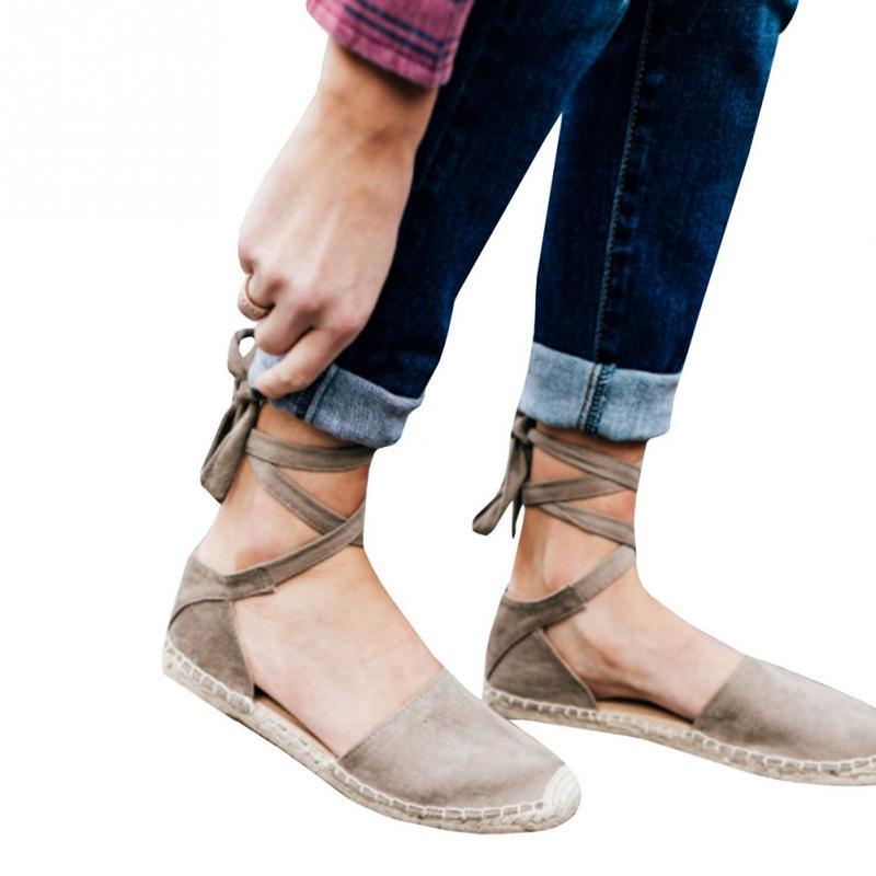 gris Plate Femmes Casual La Chaussures Femelle Sangle Lace De Plus Pour Up Peep D'été Noir forme Plat rose Paille Taille Sandale Sandales Filles Toe Cheville EAfqgr
