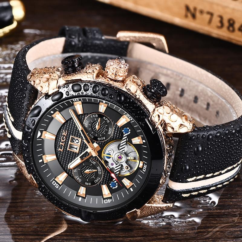 LUIK Mannen Horloge Tourbillon Mode Luxe Sport Mechanisch Horloge Klassieke Mannen Automatische Mechanische Horloges Reloj Hombre + Box-in Mechanische Horloges van Horloges op  Groep 3